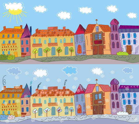 Cartoon town in summer and winter Illustration