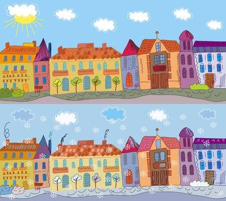 row of houses: Ciudad de dibujos animados en verano y en invierno