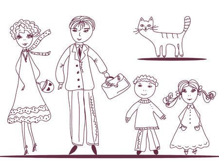 Cartoon family with cat doodle Vector