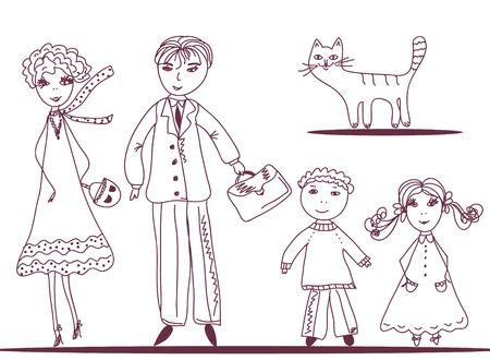 caricatura: Familia de dibujos animados con el bosquejo de gato