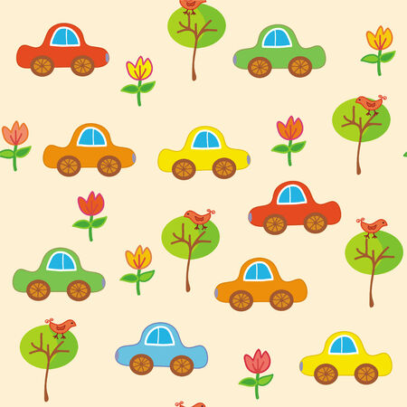 toy car: Seamless transport cartoon pattern with cars and trees