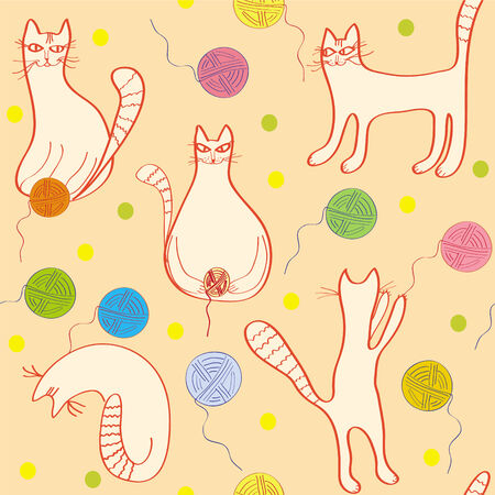 Seamless pattern with funny cats and clews Stock Vector - 6779394
