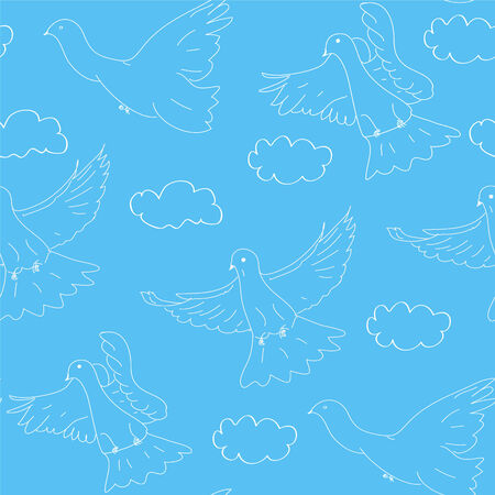 Seamless blue pattern with doves and clouds Vector