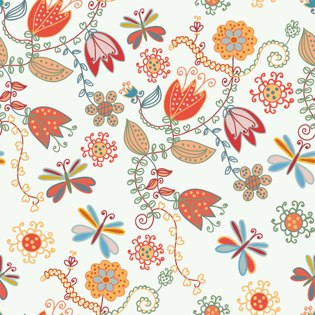 Floral seamless ornate pattern with tulips and dragonflies Vector