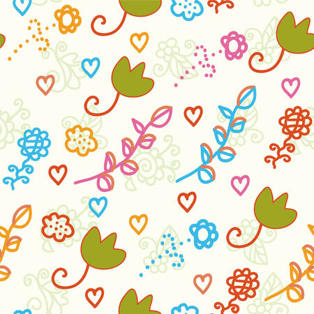 Seamless childish pattern with flowers and leaves Stock Vector - 6775492