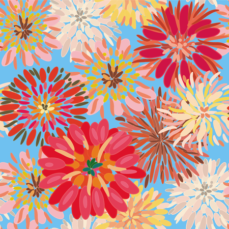 dahlia flower: Seamless floral pattern with big dahlia and chryzantemum