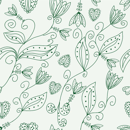 Green floral ornate seamless pattern