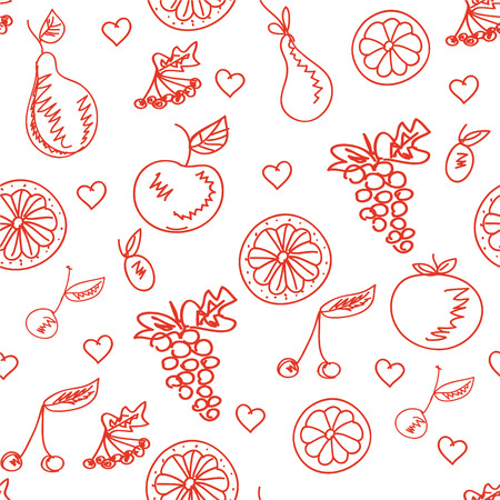 Fruit sketchy healthy seamless pattern Vector