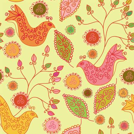 Seamless bright pattern with ethnic birds and flowers Illustration