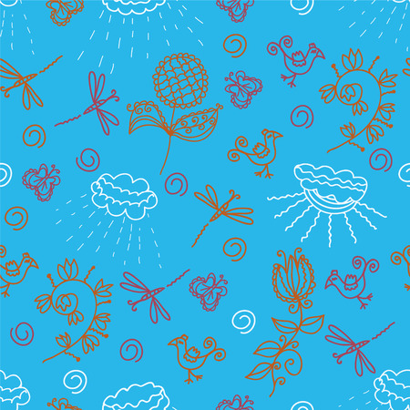 Seamless pattern with flowers, animal, weather motives Vector