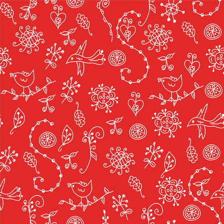 Floral red seamless pattern with graphic symbols and birds Stock Vector - 6775468