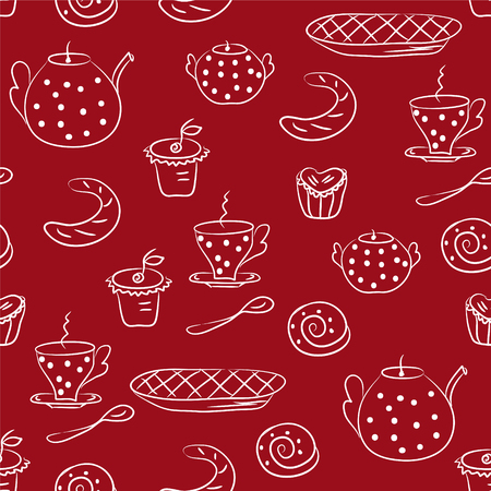 Seamless pattern with tea or coffee set Vector