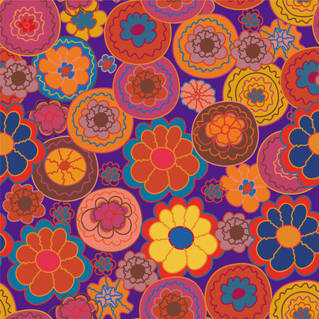 Floral seamless pattern with stylized bright flowers Vector