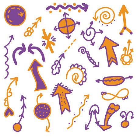 Set of cute brigth arrows and symbols Vector