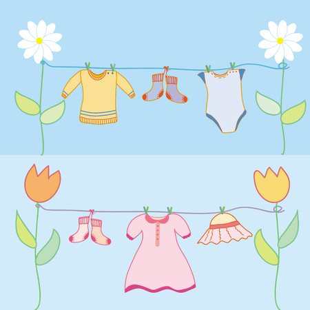 dry flies: Baby laundry for boy and girl arrival background for the card Illustration