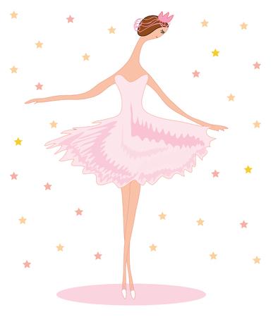 Young ballet dancer (ballerina) in pink dress Иллюстрация