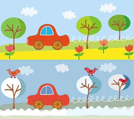 Cute car on the road in the summer or spring and winter landscape Vector