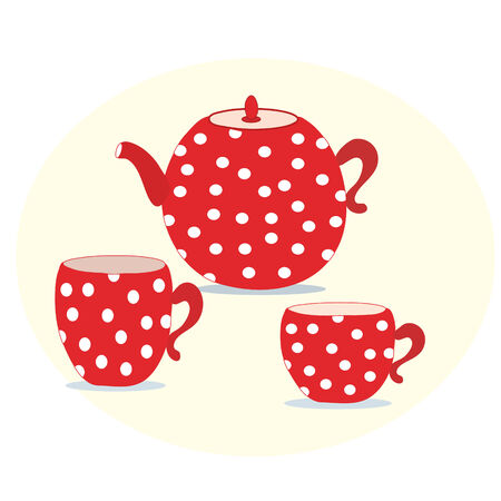 teatime: Set of red polka  teapot and cups
