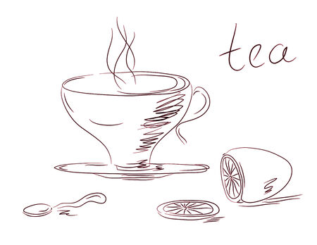 Tea set sketch with cup, spoon  and lemon Vector