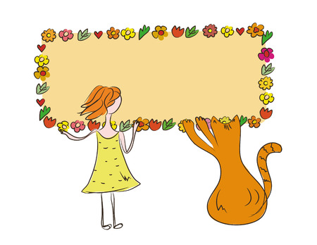 Funny girl and cat with banner of flowers for your text Stock Vector - 6775484