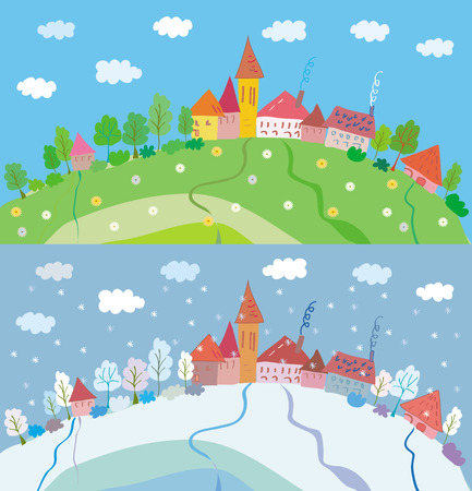 Spring and winter landscape with houses and trees. Summer and autumn is also available Illustration