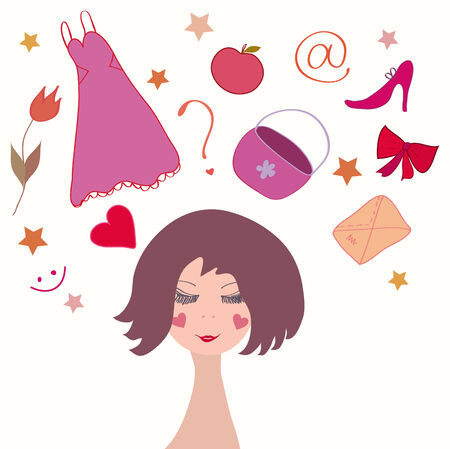 Cute girl dreaming about her life things Vector