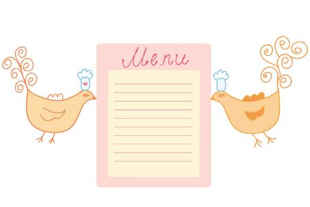 Cute birds bringing blank for menu Stock Vector - 6775514