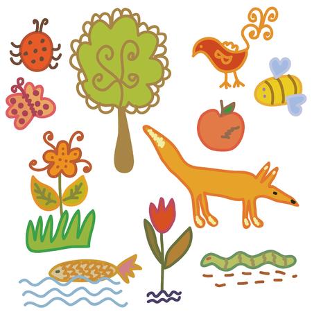 Set of cartoon nature symbols and animals Vector