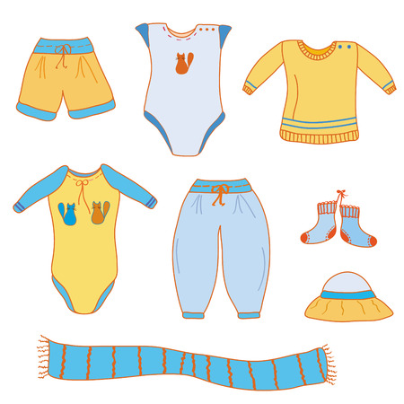 baby clothing: Set of baby boy cute clothes Illustration
