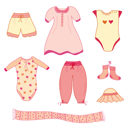 baby clothes: Collection of the cute baby girl clothes  Illustration