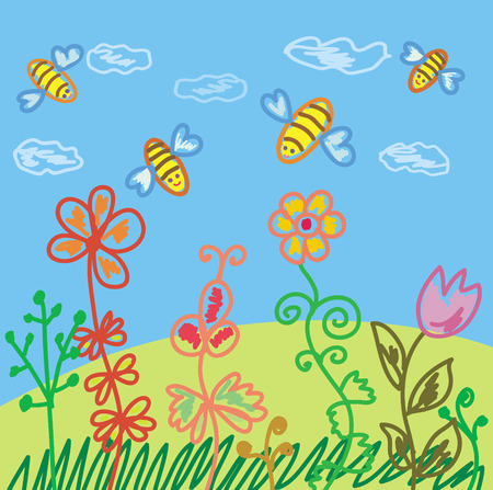 Summer scene with bees and flowers Vector