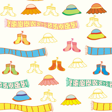 Funny baby accessories seamless bright  pattern Stock Vector - 6850097