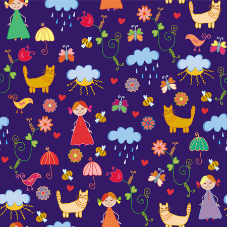 Funny spring chidish cute seamless pattern Vector