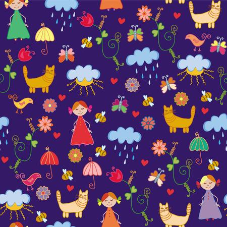 Funny spring chidish cute seamless pattern Vector