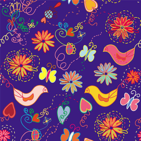 Cartoon ornate floral seamless pattern  with birds and butterfly Vector