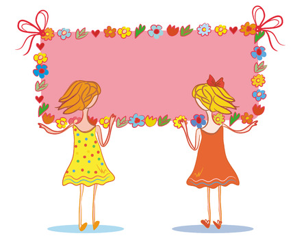 Two child girls with banner for your text Vector