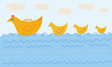 swiming: Funny swiming duck family in the water Illustration