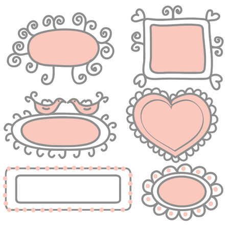 Set of pink and gray funny frames
