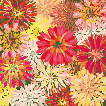 dahlia flower: Bright floral background with big dahlia and chrysanthemum