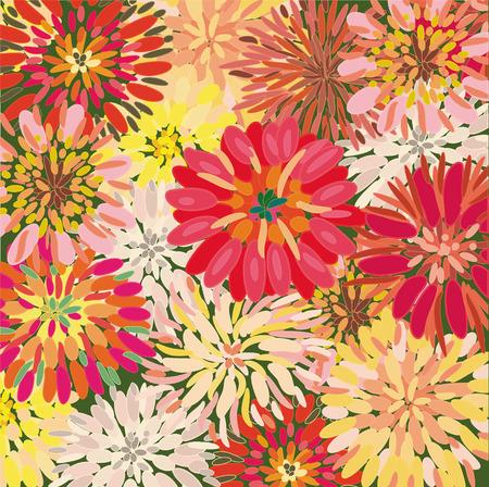 dalia: Brillante fondo floral con grande dahlia y Crisantemo