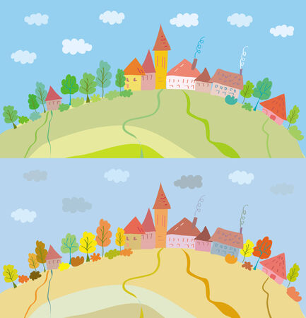 Hill houses landscape in summer and autumn Stock Vector - 6850081