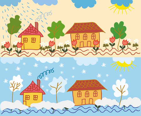 Landscape with houses in different  seasons Vector