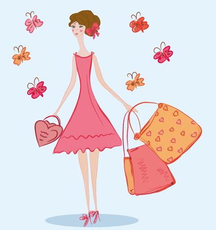 Niña bonita con bolsas de la compra y mariposas Ilustración de vector