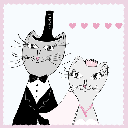 Funny cats - bride and groom Vector