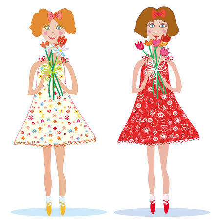 Two cute smiling girls with bunches of flowers Stock Vector - 6850106