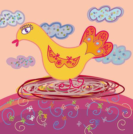 fledgeling: Mother bird in the nest Illustration