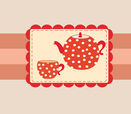 Menu template cover for tea with cup and teapot Stock Vector - 6850101