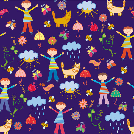 Cute seamless pattern with boy at the rain and nature Vector