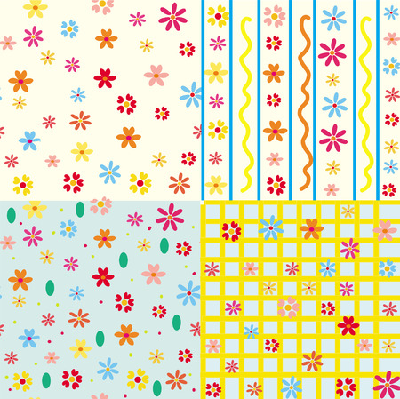 Cute seamless floral patterns set Stock Vector - 6850100