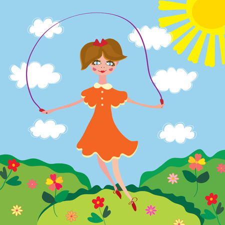 jump rope: Cute girl jumping with the skipping-rope